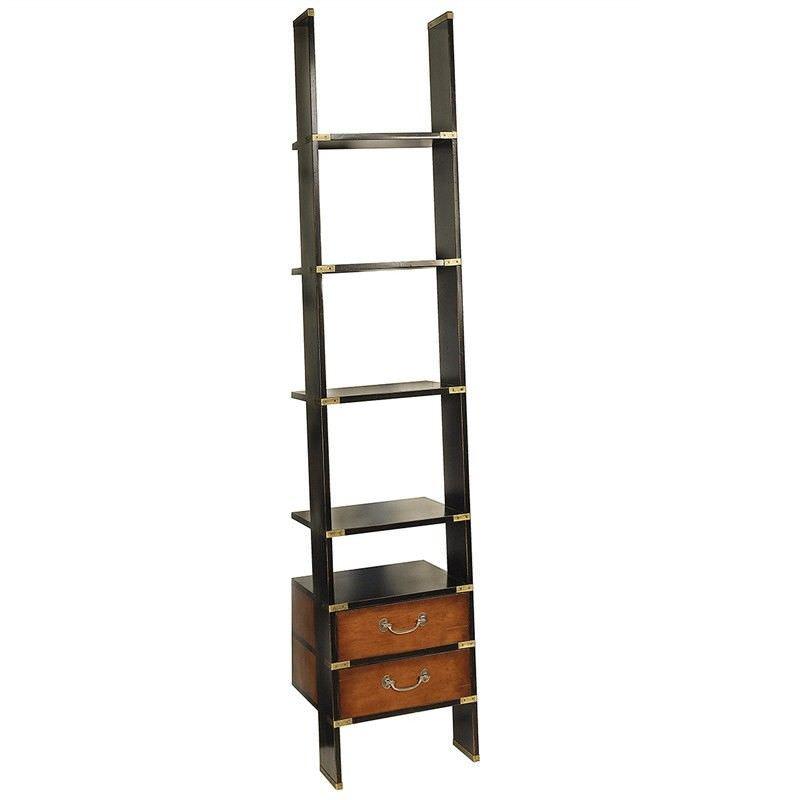 Library Solid Timber Ladder Shelf, Black