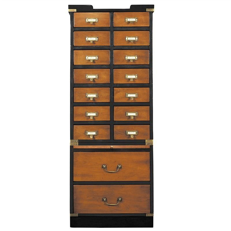 Collectors Solid Timber 16 Drawer Storage Cabinet, Honey/Black