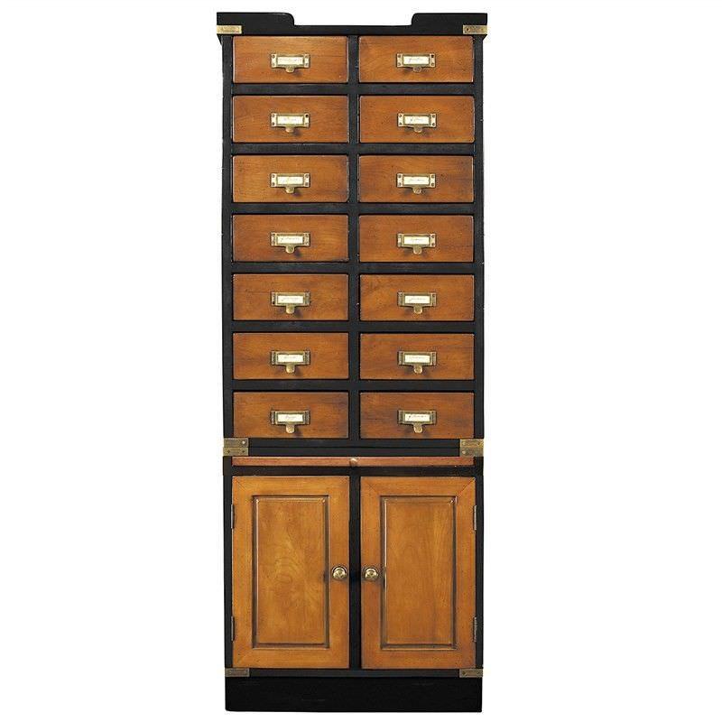 Collectors Solid Timber 2 Door 14 Drawer Storage Cabinet, Honey/Black