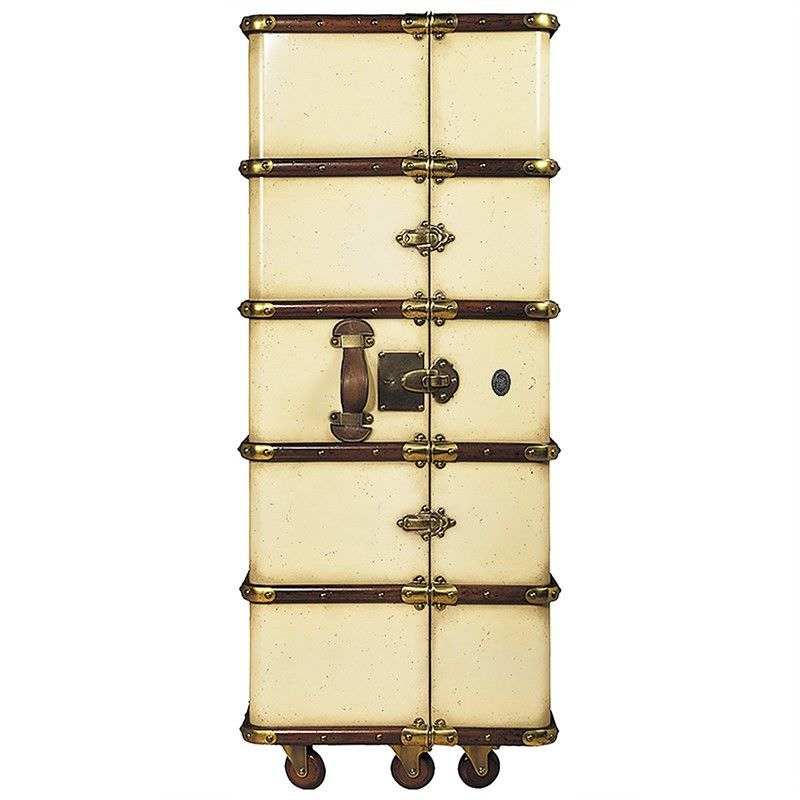 Stateroom Solid Timber Armoire Trunk, Ivory