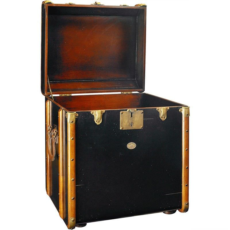 Stateroom Solid Timber Trunk Side Table, Black
