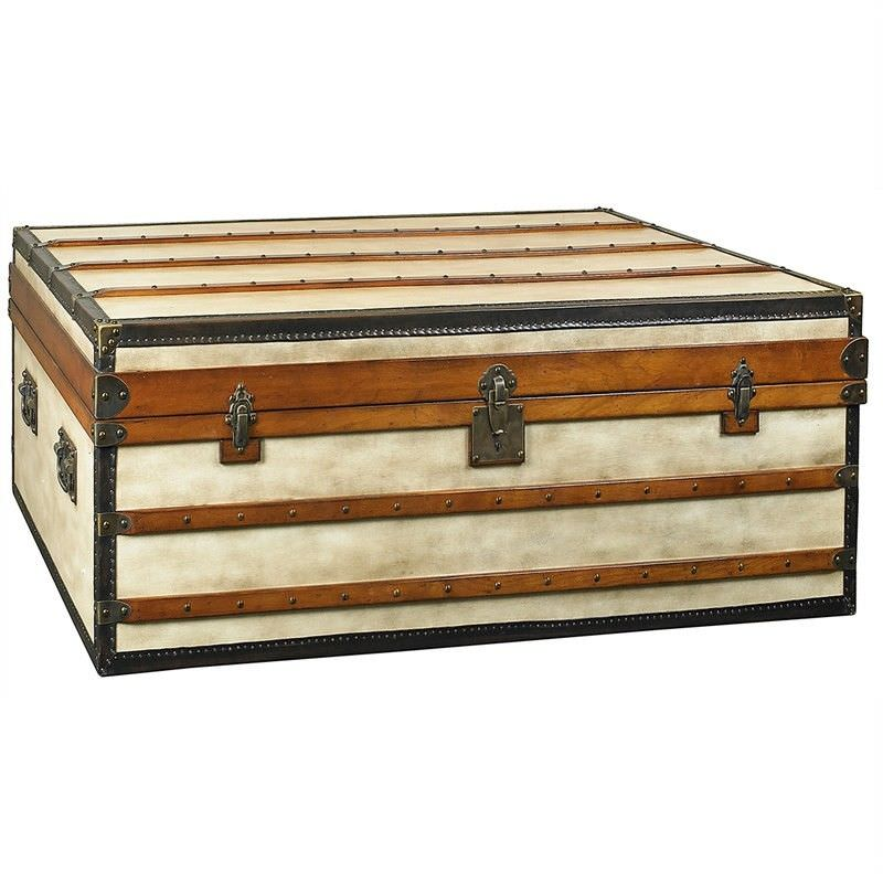 Polo Club Small Canvas and Timber Trunk Table - Ivory