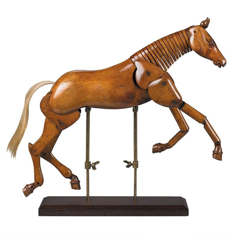 Artist Handcrafted Timber Articulated Horse Display, Large, Honey