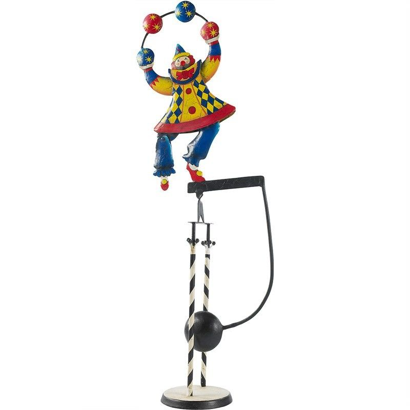 Hand Crafted Painted Metal Skyhook Balance Toy - Clown