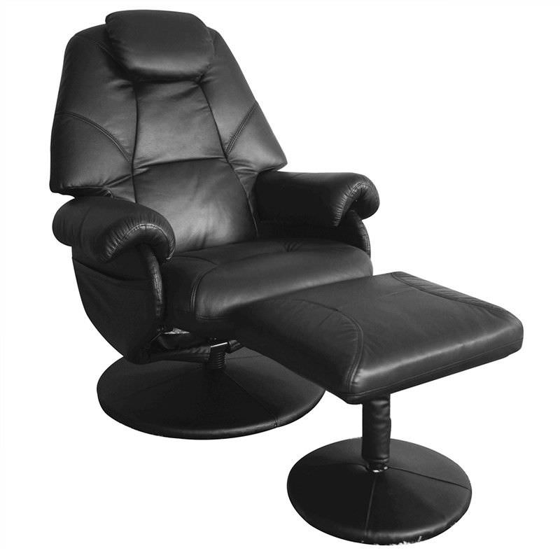 April Leather Recliner Armchair With Foot Stool Black