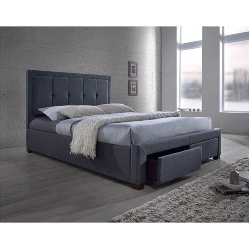Ariel Fabric Queen Bed with End Drawers