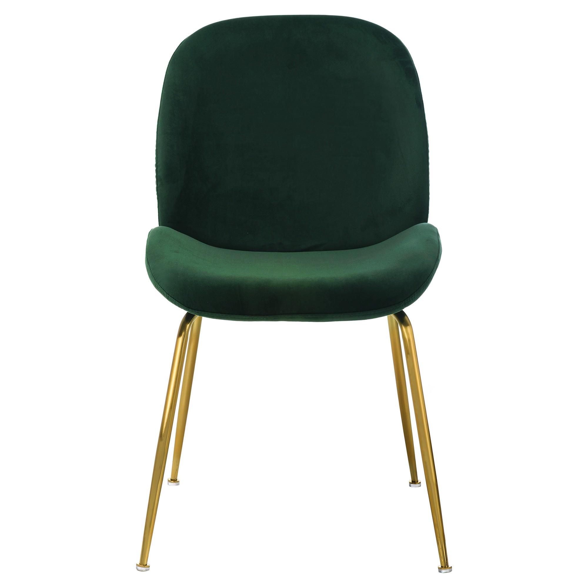 Aizel Velvet Fabric Dining Chair, Emerald