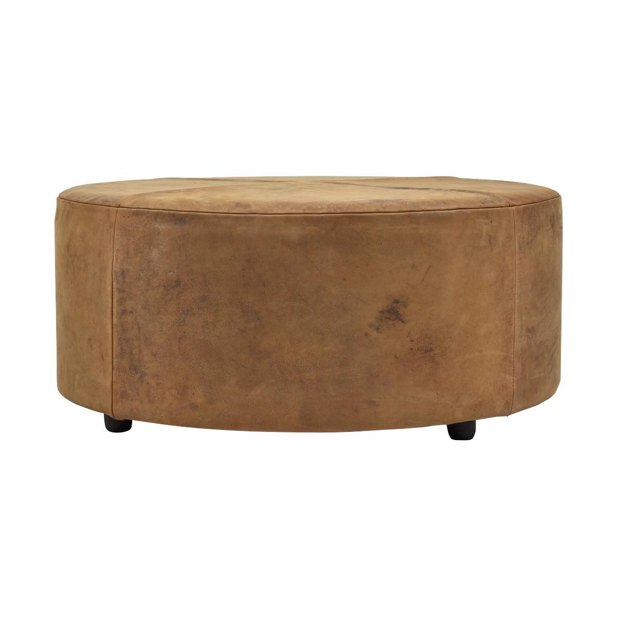 Napa Leather Round Ottoman, Tan