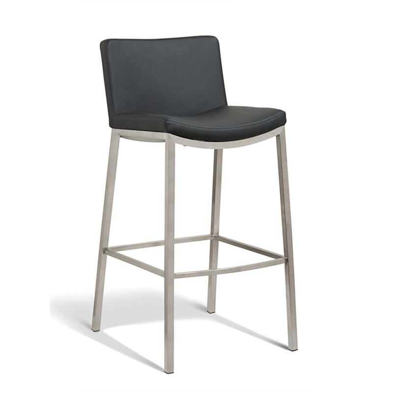 Ascot Commercial Grade Stainless Steel Bar Stool with PU Seat, Black