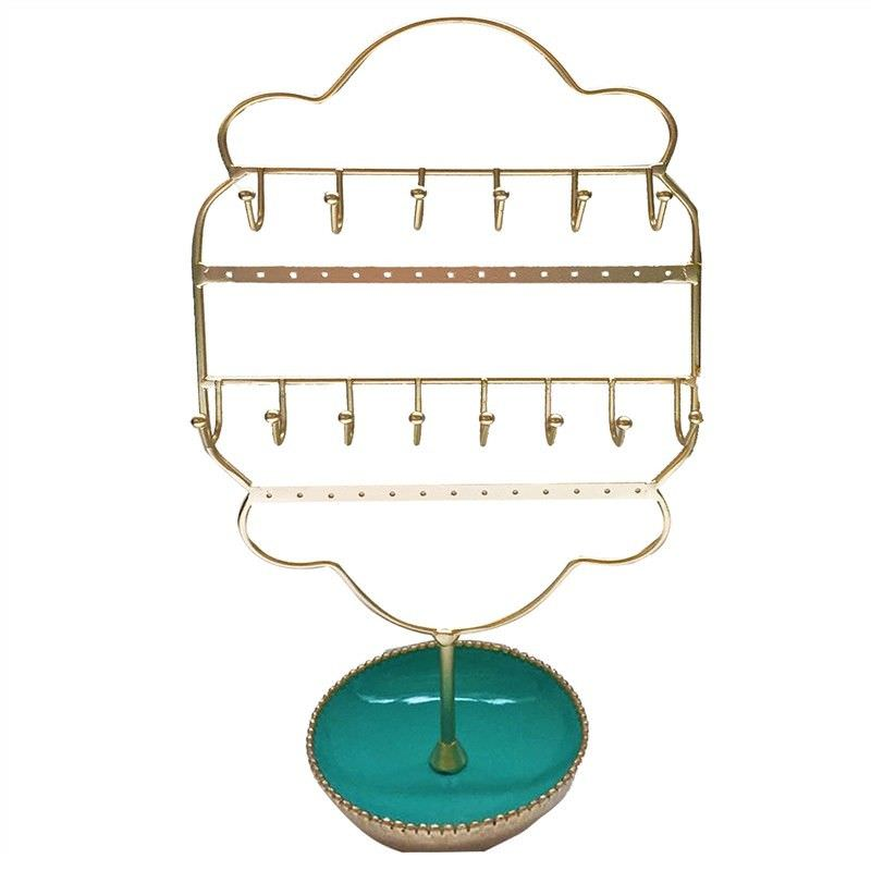 Victorian Reisn & Metal Jewellery Holder- Turquoise