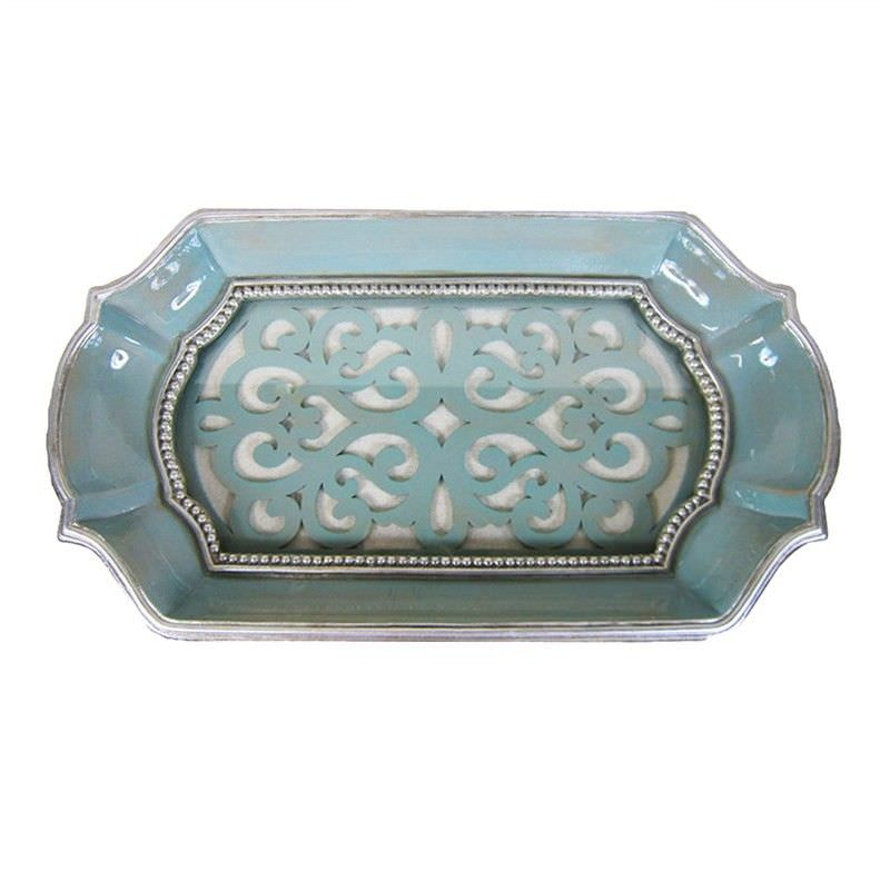 Medallion Resin & Glass Tray - Turquoise