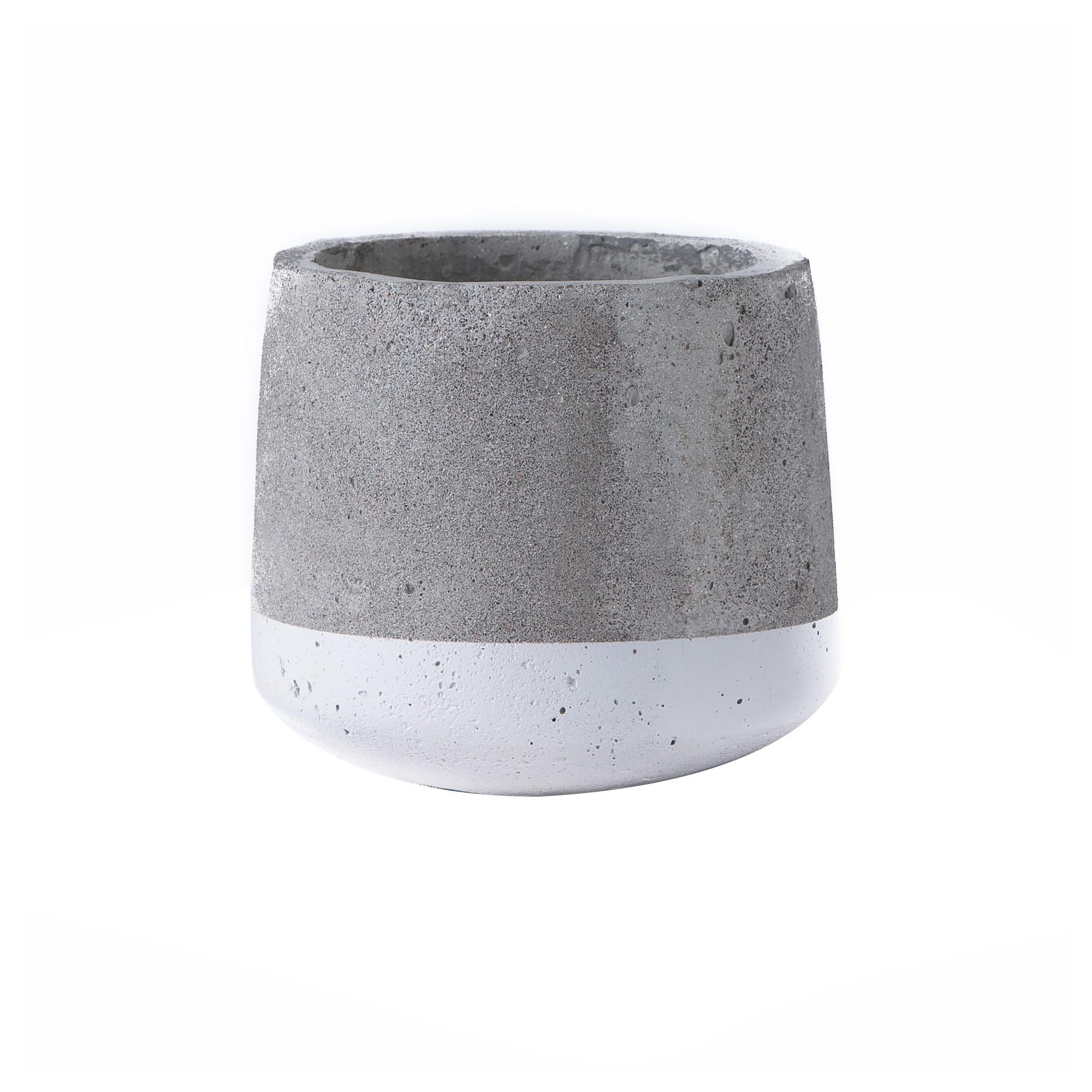 Alanis Commercial Grade Concrete Pot Planter, Small, Grey / White