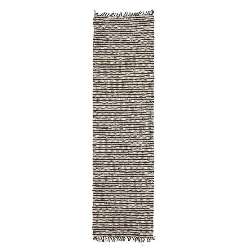 Bondi Leather & Jute Indoor/Outdoor Runner Rug in Black/White - 300x80cm