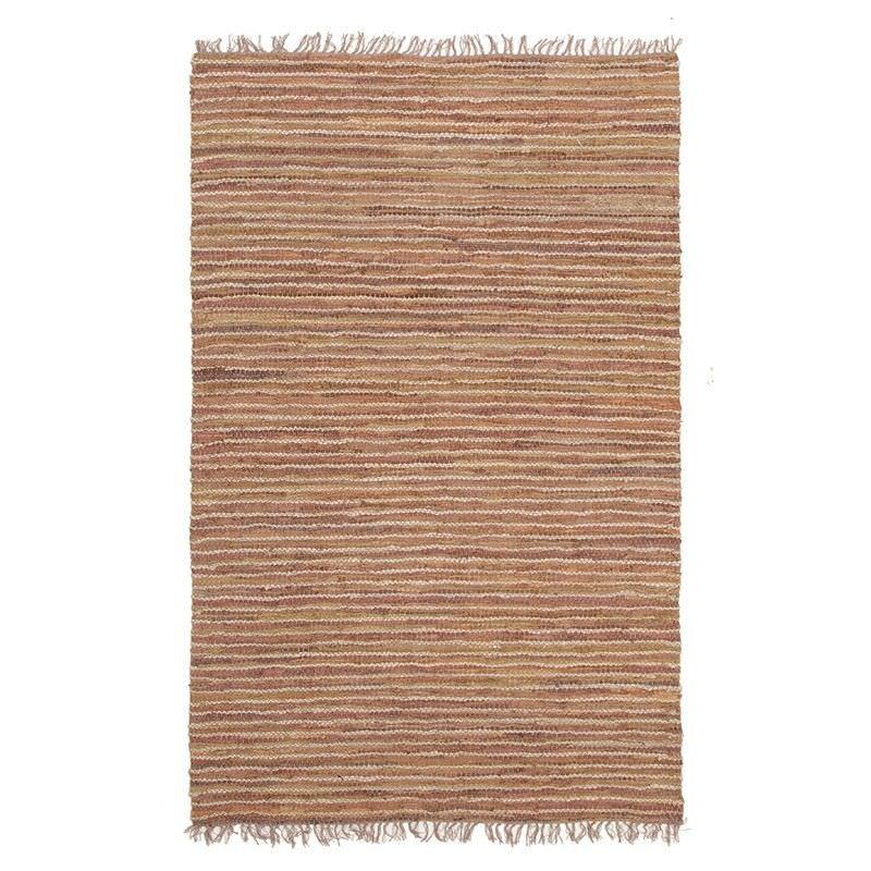 Bondi Leather & Jute Indoor/Outdoor Rug in Brown - 220x150cm