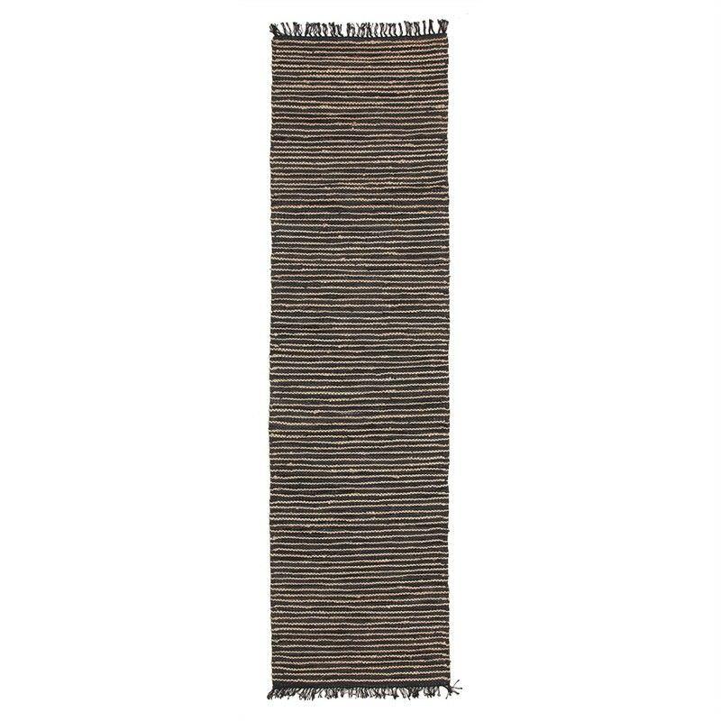 Bondi Leather & Jute Indoor/Outdoor Runner Rug in Nude/Black - 400x80cm
