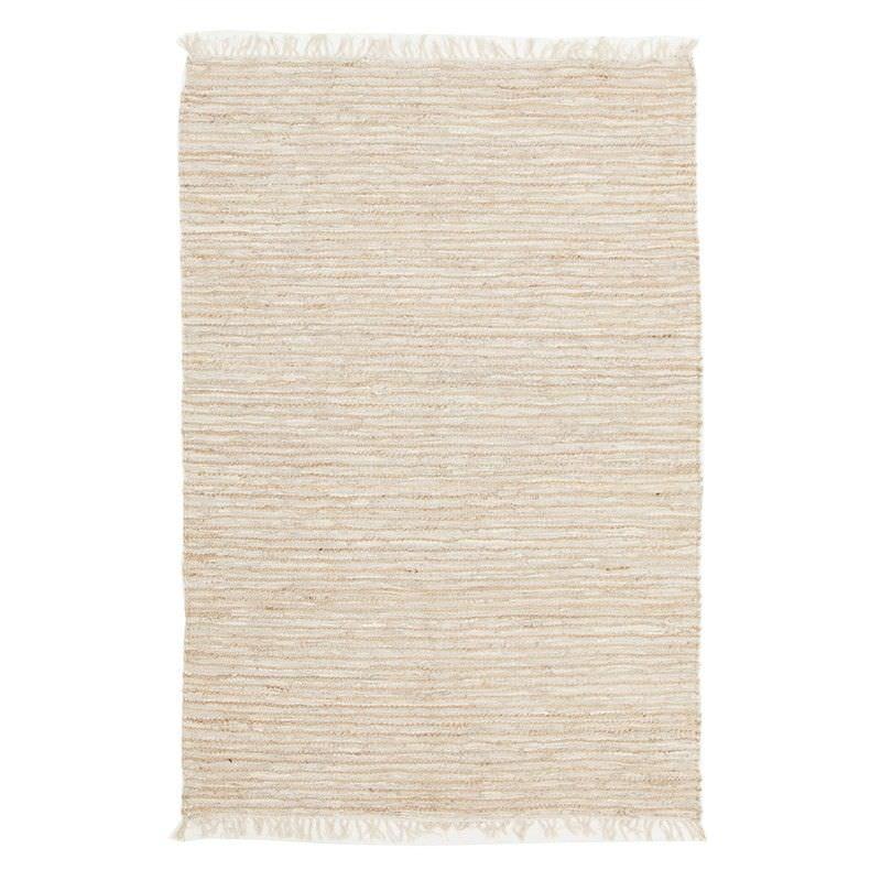 Bondi Leather & Jute Indoor/Outdoor Rug in Nude/White - 320x230cm