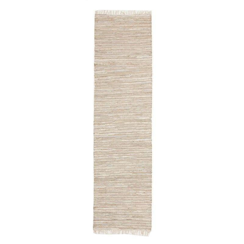 Bondi Leather & Jute Indoor/Outdoor Runner Rug in Nude/White - 400x80cm