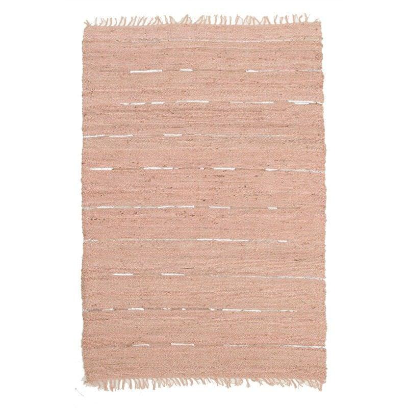 Saville Jute & Leather Indoor/Outdoor Rug in Nude Pink - 320x230cm
