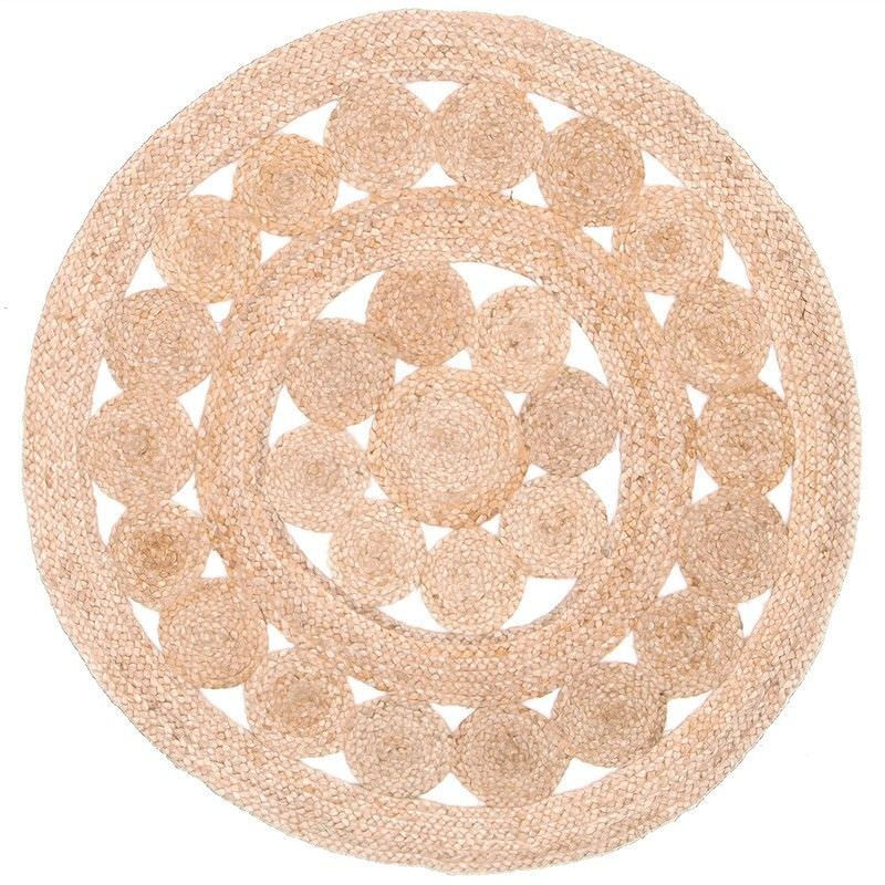 Natural Daisy Hand Braided Jute Indoor/Outdoor 150cm Round Rug