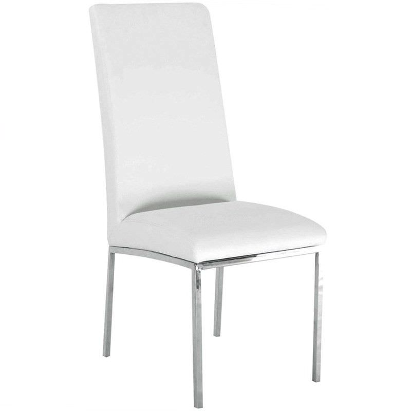 Nordic PU Leather Dining Chair, White