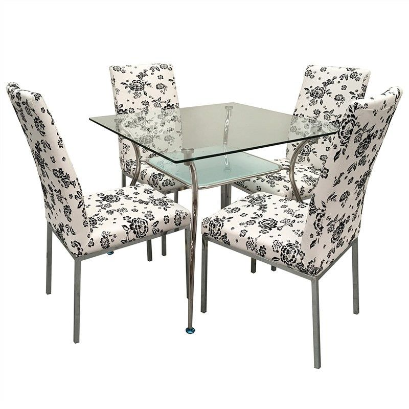 Melba Floral 5 Piece Glass Top Square Dining Set