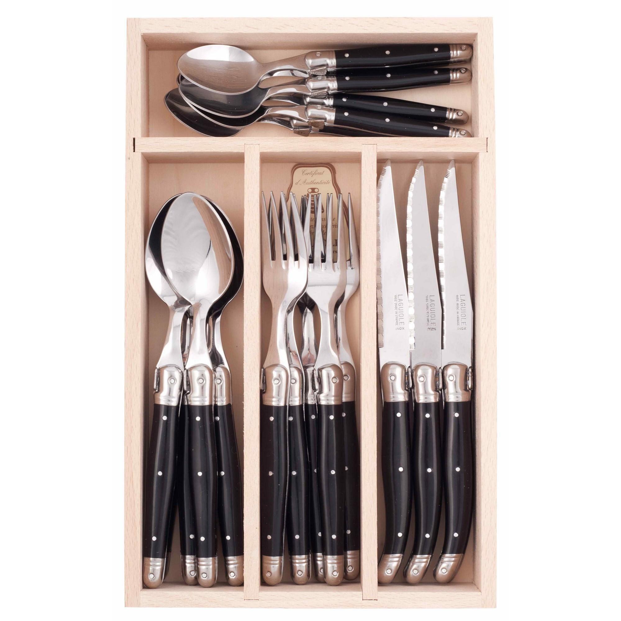 Andre Verdier Debutant Cutlery Set, 24 Piece, Black / Silver