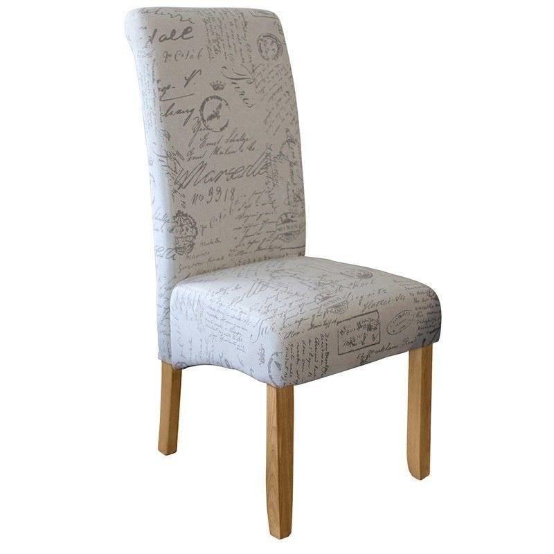 Averil Fabric Upholstered Dining Chair, Paris Script/Blonde