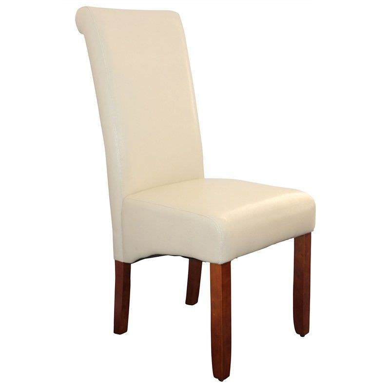Avalon PU Upholstered Dining Chair - Ivory/Chestnut