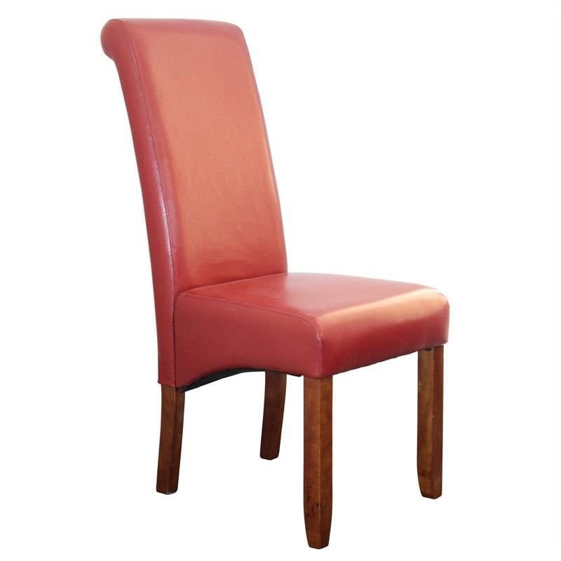 Averil PU Upholstered Dining Chair - Red/Chestnut