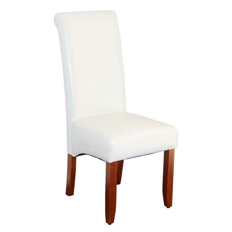 Averil PU Upholstered Dining Chair - White/Chestnut