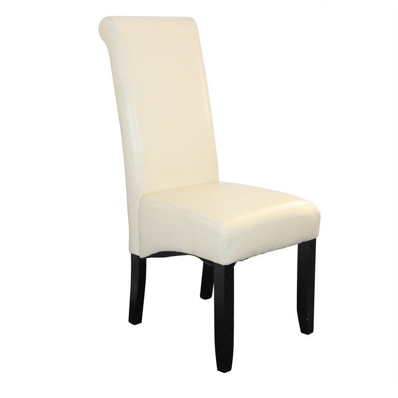 Averil PU Upholstered Dining Chair - Ivory/Wenge