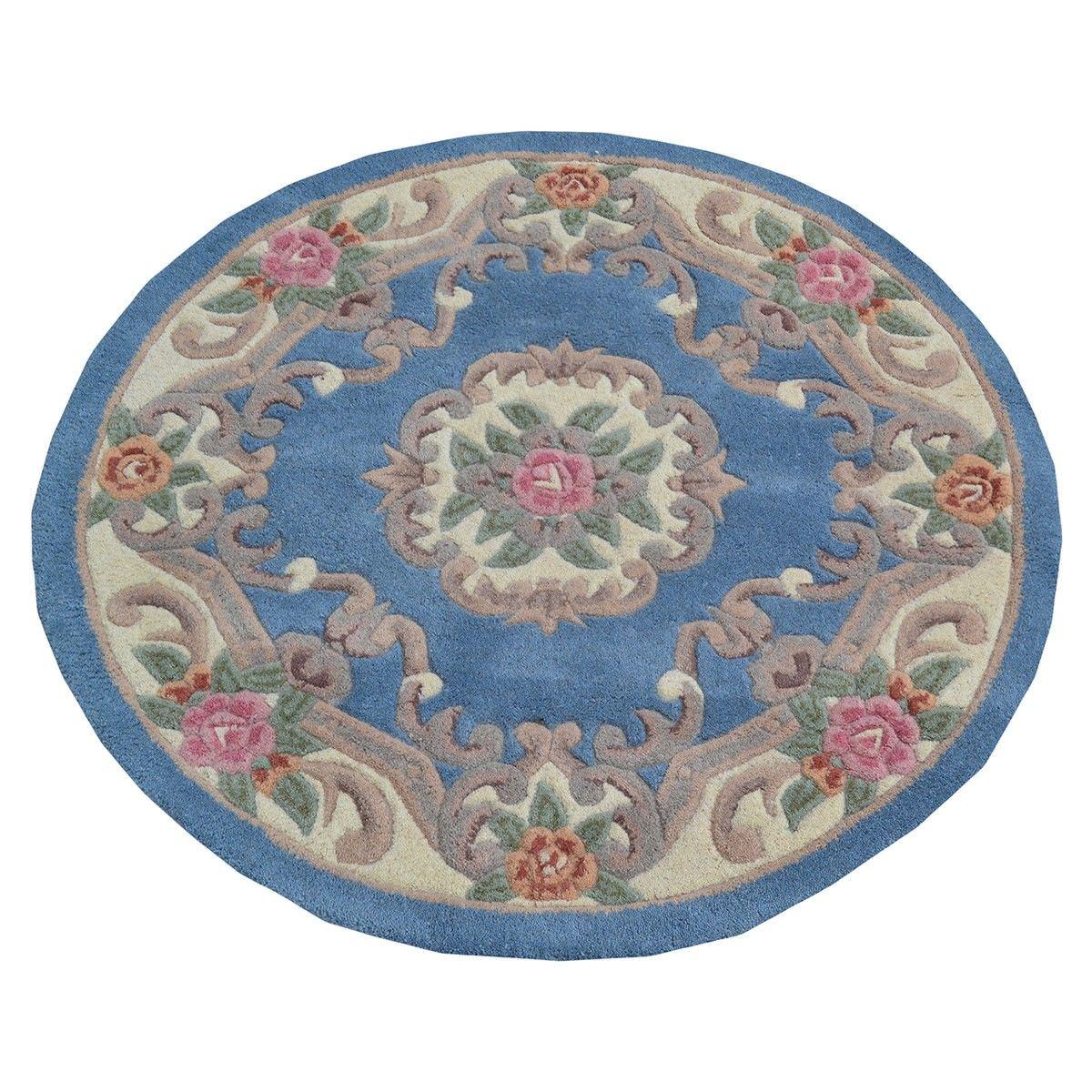 Avalon French Aubusson Round Wool Rug, 120cm, Blue