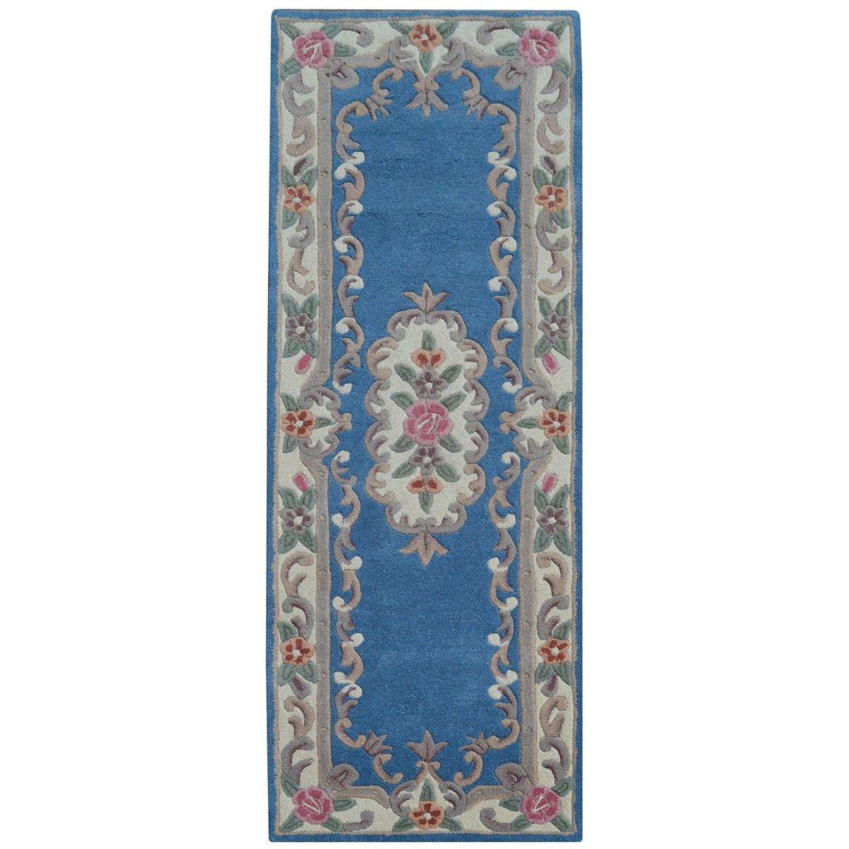 Avalon French Aubusson Wool Runner Rug, 210x67cm, Blue