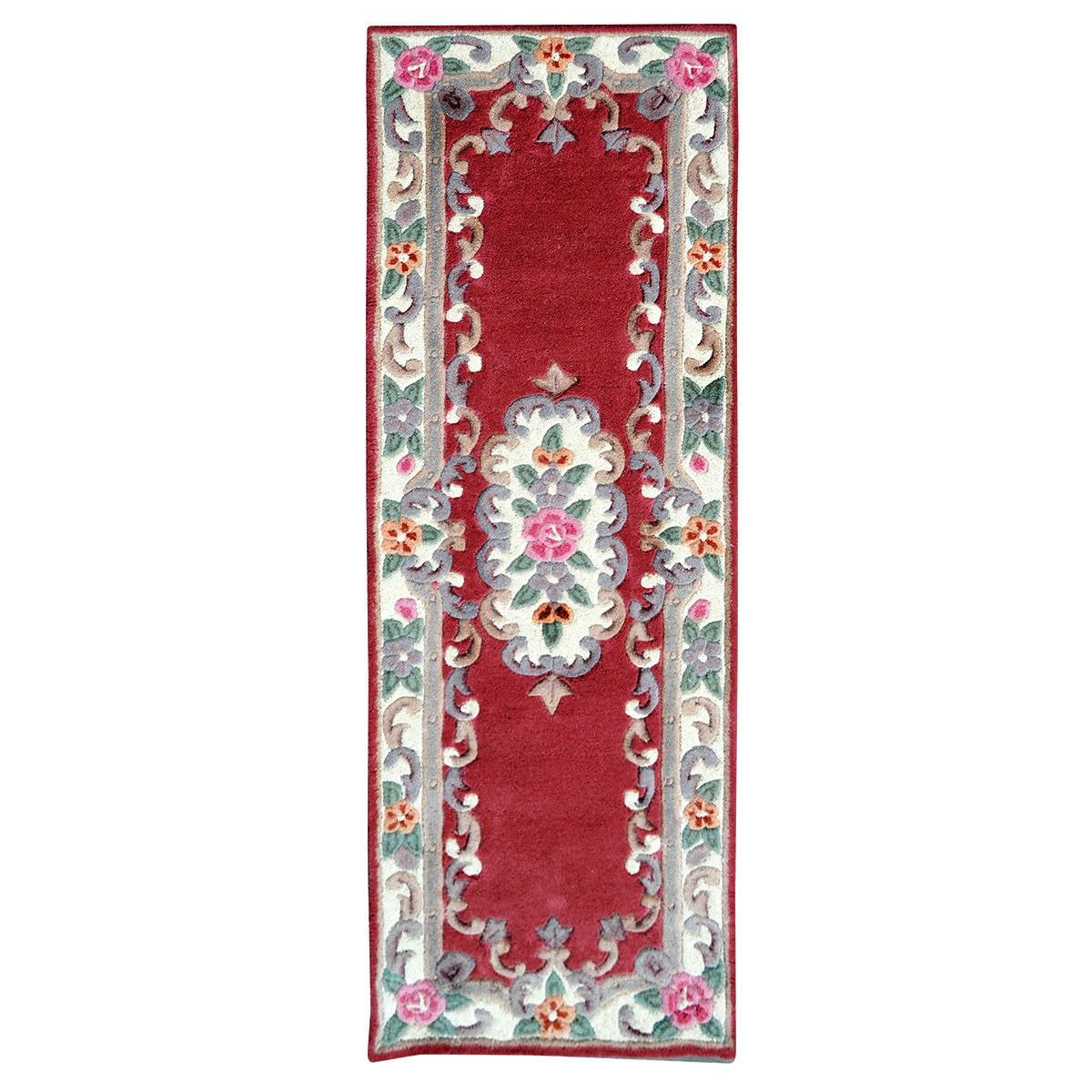 Avalon French Aubusson Wool Runner Rug, 210x67cm, Red