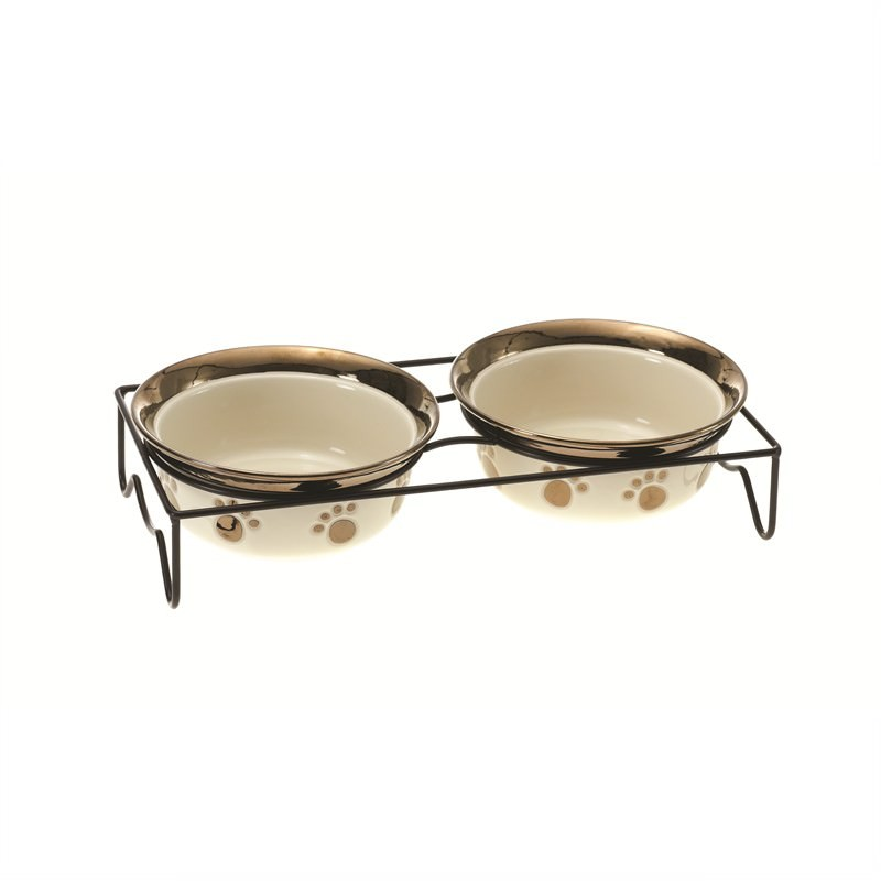 Set of 2 Cat Bowls - Cream