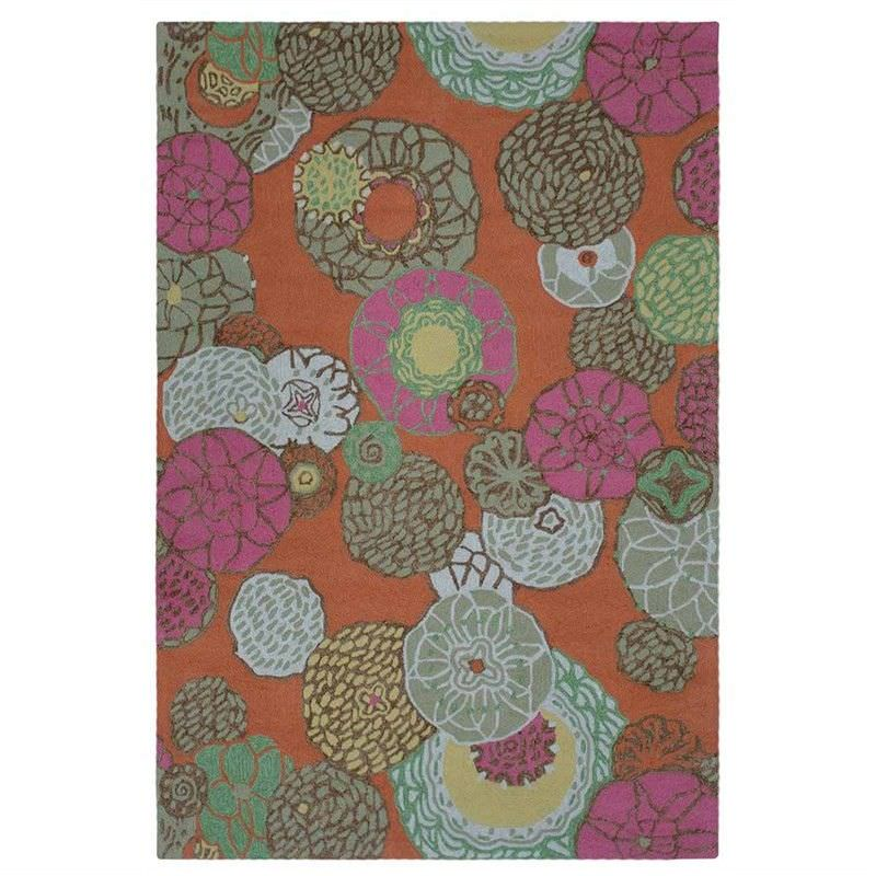 Anywhere Floral Hand Tufted Indoor/Outdoor Rug, 155x225cm, Orange