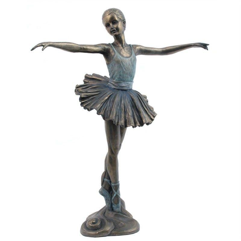 Cast Bronze Ballerina Figurine, Open Arms and Tiptoeiing
