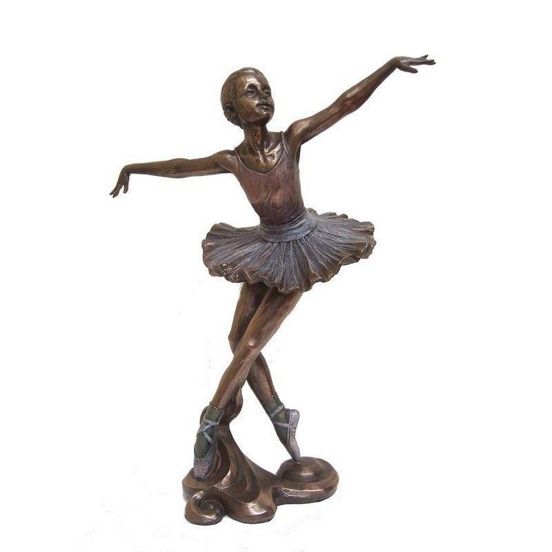 Cast Bronze Ballerina Figurine, Looking Up