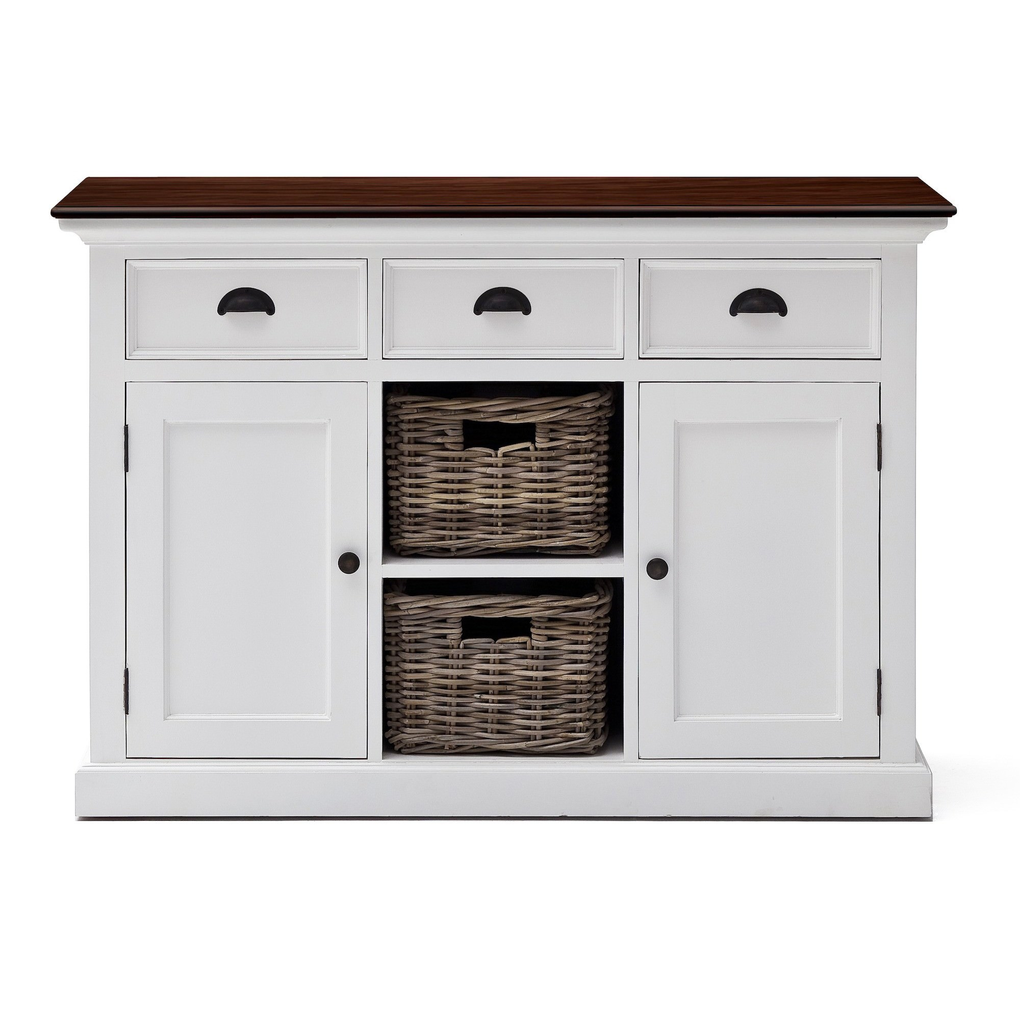 Halifax Contrast Mahogany Timber 2 Door 3 Drawer Buffet Table with Rattan Baskets, 125cm, Brown / Distressed White