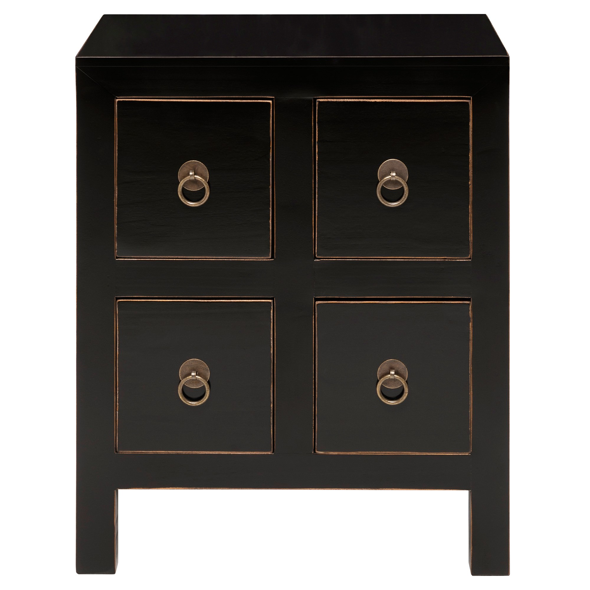 Cove Pine Timber Bedside Table, Distressed Black