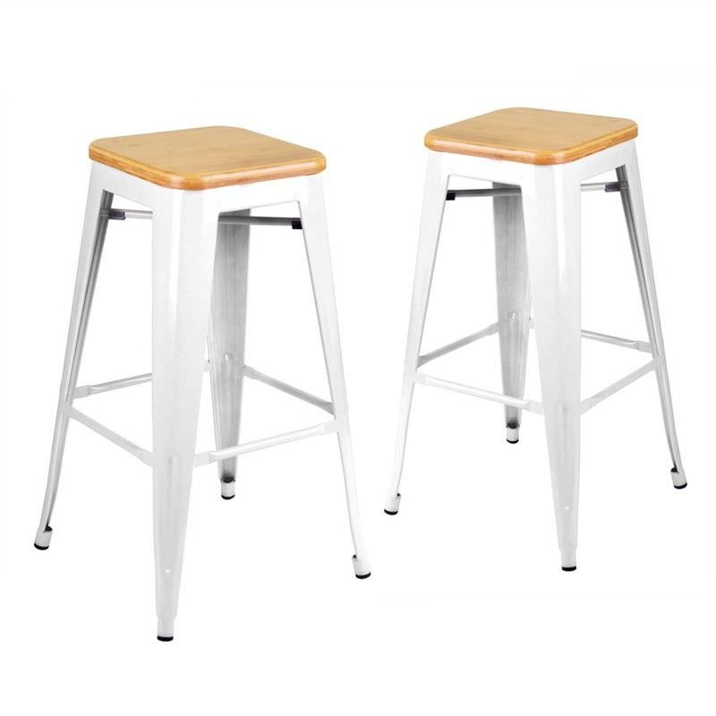 Set of 2 Replica Xavier Pauchard Tolix 76cm Bar Stools with Bamboo Seat - White