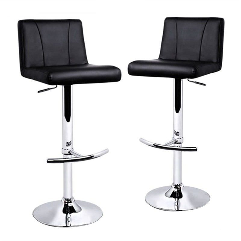 Set of 2 Noci Gas Lift PU Leather Bar Stools, Black