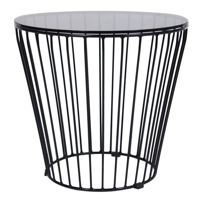 Cage Commercial Grade Glass Top Steel 50cm Round Coffee