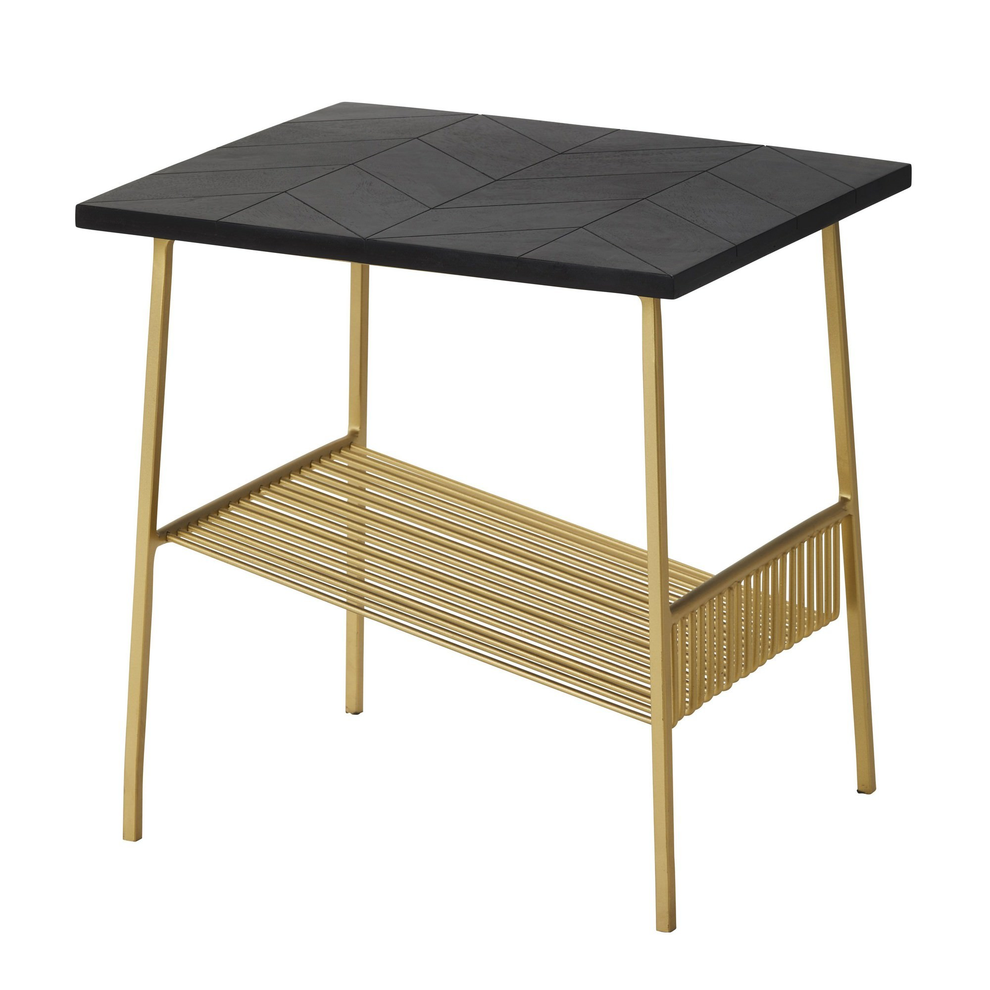 Gilte Acacia Timber Topped Metal Side Table