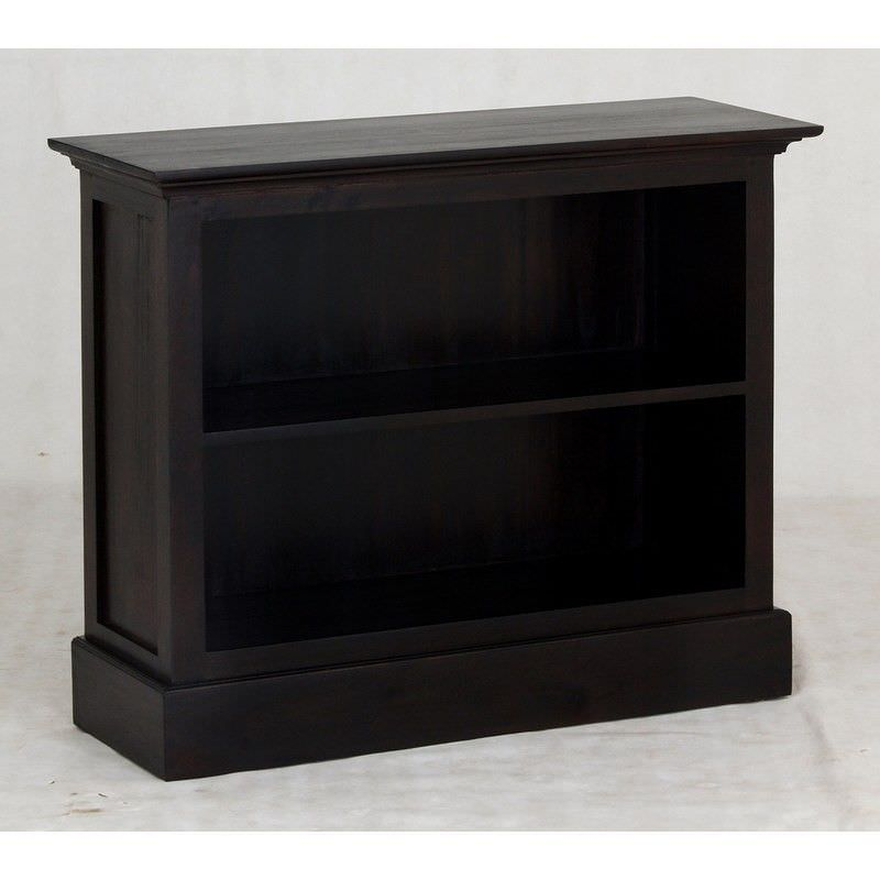 Adolf Solid Mahogany Timber Single Shelf Low Bookcase - Chocolate