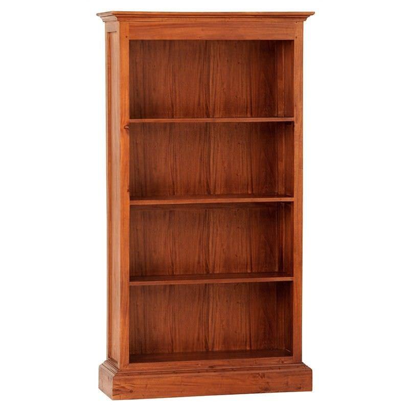 Tasmania Mahogany Timber Wide Bookcase, Light Pecan