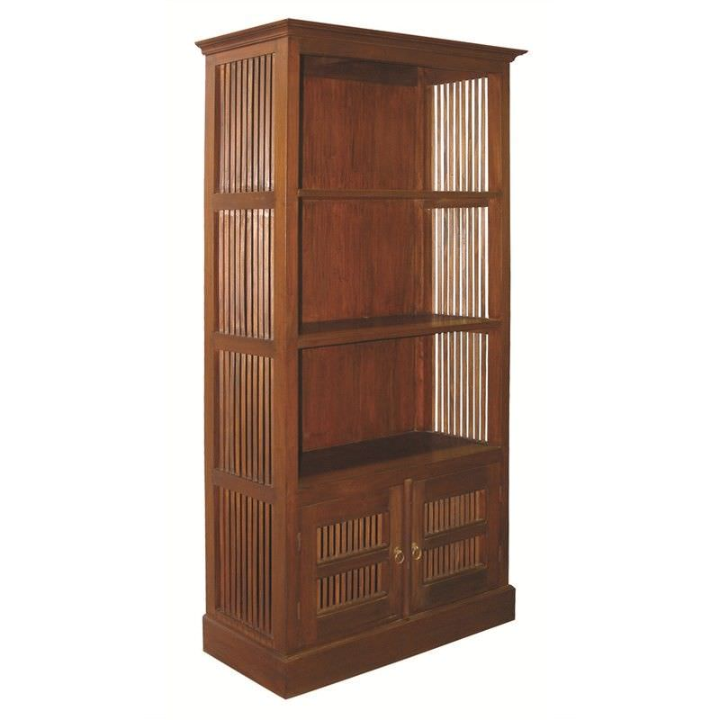 Ruji Solid Mahogany Timber Double Shelf Bookcase, Mahogany