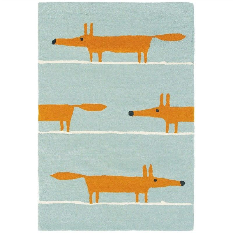 Scion Mr Fox Hand Tufted Designer Wool Rug, 150x90cm, Aqua
