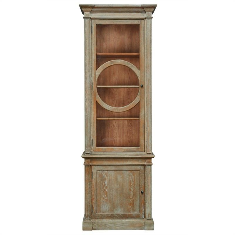Georgian Solid American Oak Timber Display Cabinet, Lime Washed Natural