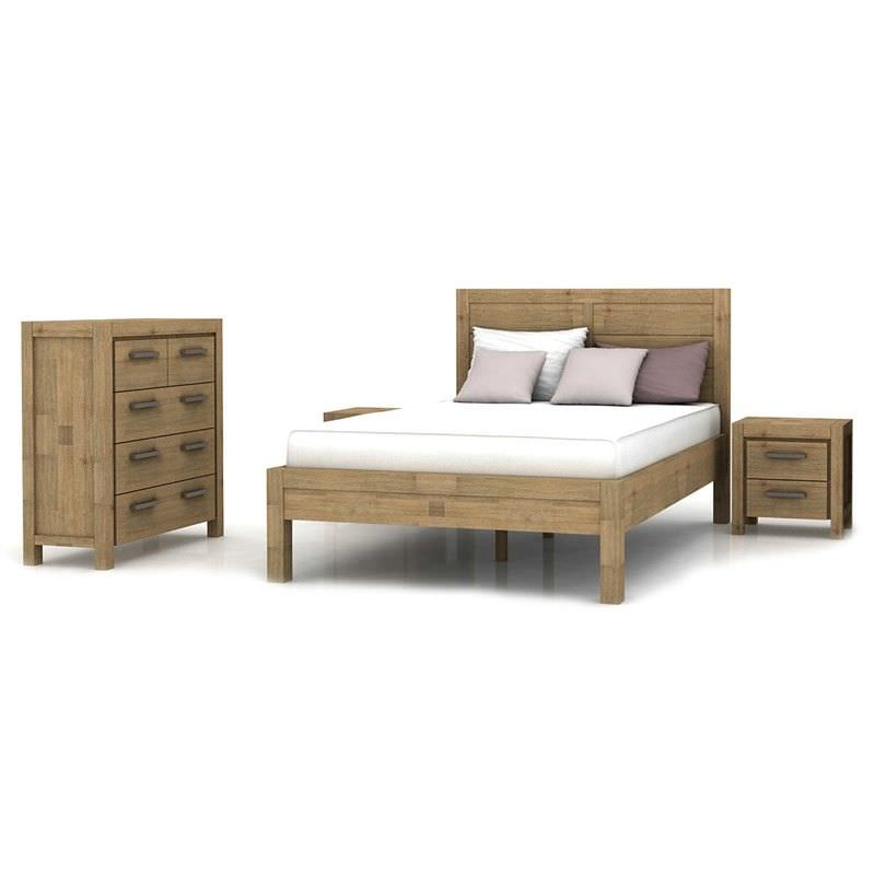 Ashland Solid Acacia Timber 4 Piece Queen Bedroom Suite